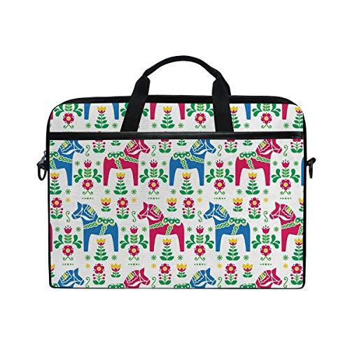 FOURFOOL 15-15.6 inch Laptop Bag,Classic Swedish Dalecarlian Coral Azure Blue Animals and Green Floral Arrangement,New Canvas Print Pattern Briefcase Laptop Shoulder Messenger Handbag Case Sleeve