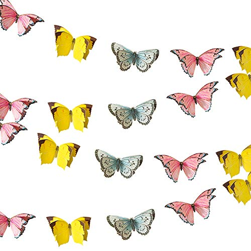 Talking Tables 5m (16ft) Small 3D Butterfly Garland Bunting | Pastel Birthday Decorations | Supplies For Kid's Party, Woodland Fairies Theme, Girls Bedroom Accessories, 5 metres