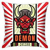 YCHY Throw Pillow Covers 18x18,Japanese Demon Mask Tattoo Studio,Home Decor Farmhouse Comfortable Soft Square Cushion Cover Pillowcases Couch Bedroom Sofa Chair Car