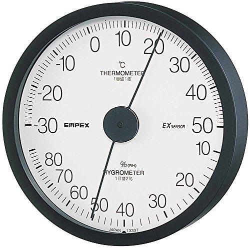 エンペックス気象計 温度湿度計 エクストラ温湿度計 壁掛け用 日本製 ブラック TM-6202