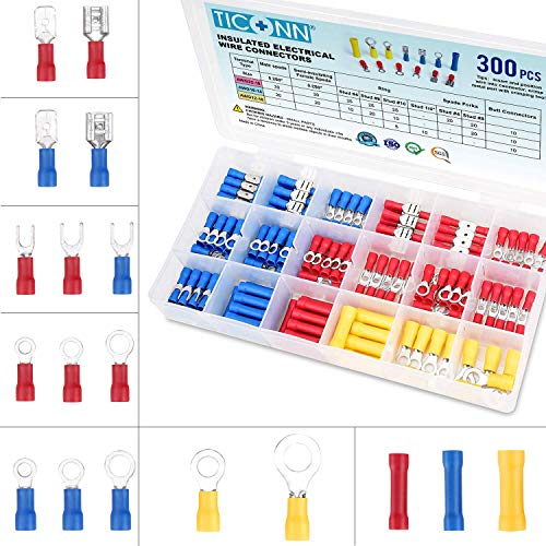 TICONN 300 Pcs Electrical Insulated Wire Connectors Kit - Spade, Ring, Butt, Quick Disconnect, Forks Connector - Crimp Cable Terminals