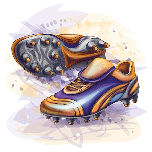 dekodino® Wandtattoo Fußball Fußballschuhe bunt Jugendzimmer Teenager Aquarell