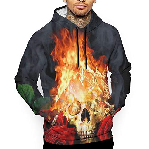Mens Hoodies Graphic Skull Rose with Red Fire Hooded Sweatshirt with Pocket