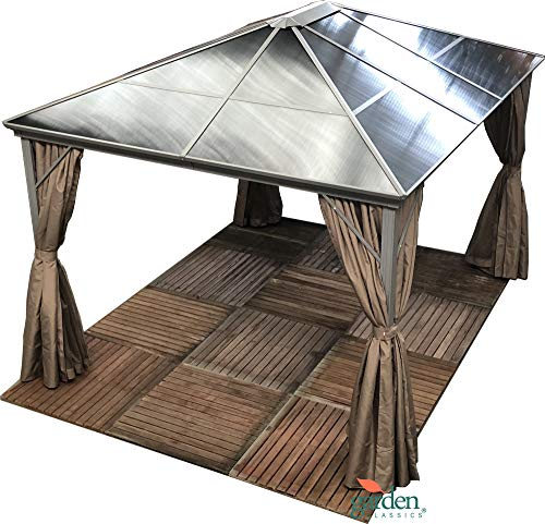 Swanbourne Garden Party Gazebo Hardtop Smoked Polycarbonate roof, 3.6m x 3m, privacy sides & mosquito nets, Suitable for Hot tubs. Mocha (DARK BEIGE CURTAINS.
