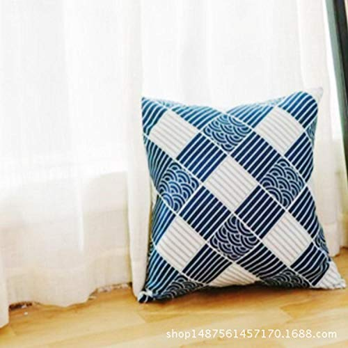 Japanese style simple cotton linen pillow Chinese style home living room square pillowcase@Qinghai wave block set_50*50cm