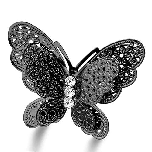 Anillos de mariposa grandes de estilo gótico vintage, anillo negro de tamaño ajustable para mujeres, joyería de animales