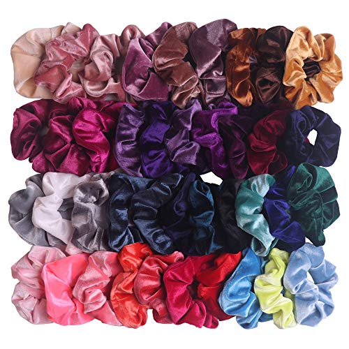 YAKA 40 Pcs Hair Scrunchies Velvet Elastics Hair Bands Scrunchy Hair Tie Ropes Scrunchie for Women or Girls,Hair Accessories Rubber Band Headband,Gift for Holiday Seasons and Christmas