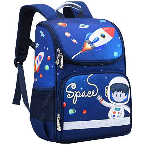 Space Backpack for Kids, Hey Yoo Cute Rocket Bookbag School Bag for Boys