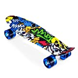 ENKEEO - Monopatín Skateboards Retro Crucero (22 Pulgadas, 4 PU Ruedas traslúcidas, Tabla de plástico Reforzado, rodamiento ABEC-7) Dibujo Joker
