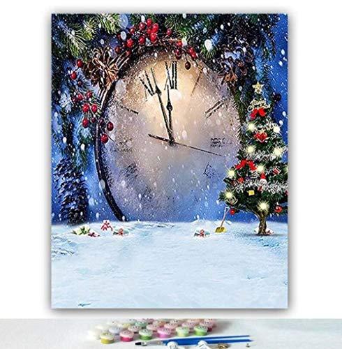 Yqgdss Weihnachten Stil Uhr Bild Zeichnung Handgemalte Digitale Geschenk Gedruckt Leinwand Pinsel DIY Ölgemälde by Zahlen Wandkunst Färbung Dekor Einzigartige Kits, Holzrahmen-30x40cm