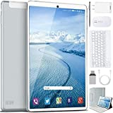 10 inch Tablet with Keyboard Android 10.0 Pie, 4GB RAM 64GB ROM, Quad Core, Google GMS Certified, IPS HD Display, 8MP Dual Camera, Dual 4G SIM, WiFi 8000mAh - Tablet 10 inch (Silver)