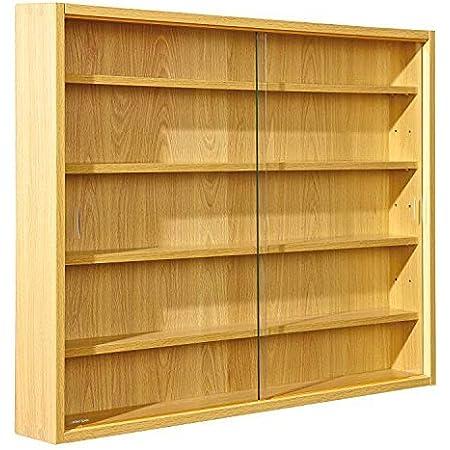 Inter Link Simply Vitrina de madera MDF y vidrio, Marrón, 80 x 9.5 x 60 cm