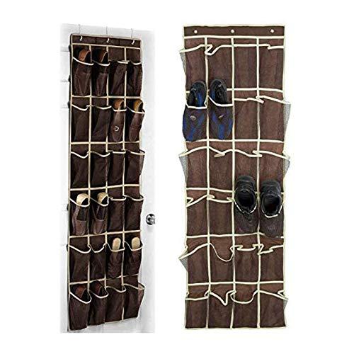 JIAHU Organizador de zapatos para puerta extragrande, 3 ganchos, color marrón, 1 paquete
