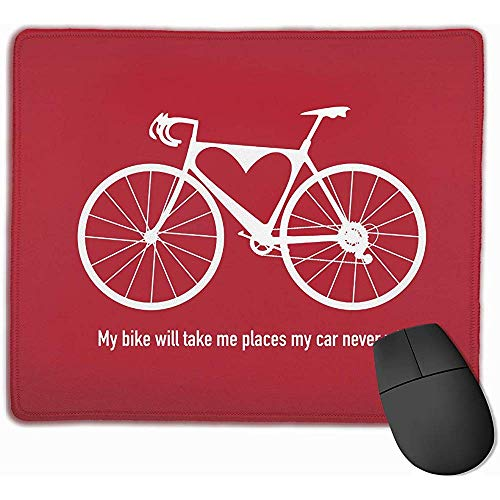 Gestikte randen Gaming Mousemat, Antislip Rubber Mouse Pads, Glad Office Pad,Fiets Fietsen Rood Laptop Office Mouse Mat, Computer Muizen Pad,30X25CM