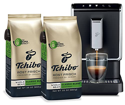 Tchibo Fully Automatic Coffee Machine Bundle, with Two Whole Bean Coffee, 35 Ounce Bags - Revolutionary Single-Serve, Bean-To-Brew Coffee Maker