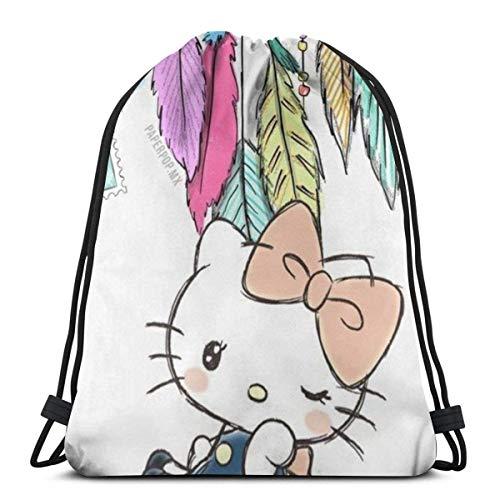 Bolsa de cordón clásico con carillones de Hello Kitty, mochila de deporte, bolsa de almacenamiento de deporte para hombre y mujer