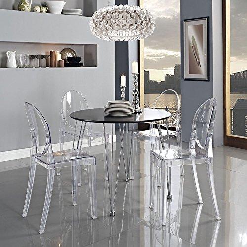 Panana 4er Design Stuhl transparent Moderner Esszimmerstuhl Wohnzimmerstuhl Komfortables Sitzen für Familie Restaurant und Außen - Transparent.