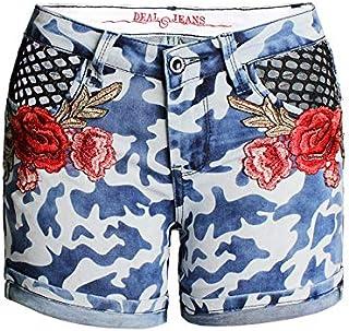 Jieming 夏レディースフラワー刺繍入りショートパンツジーンズカモエットメッシュホットパンツジーンズ (Color : Blue, Size : M)