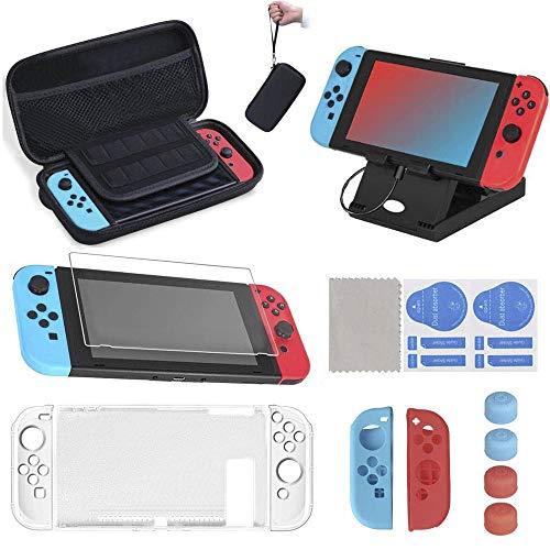 16 en 1 Kit de Accesorios para Nintendo Switch, Funda para Nintendo Switch con 10 Cartucho de Juego   Carcasa de Silicona y Plastico   Protector de Pantalla   Tapas para Joystick   Soporte Ajustable