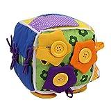 Wood.L Aktivitätswürfel für Babys frühe Erziehung, Grundlegende Lebensfähigkeiten, Lehrspielzeug für Kleinkinder, mit Reißverschluss, Druckknopfschnalle, Schnürsenkel