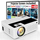 TMY Projector, 4500 Lux Video Projector Full HD 1080P Supported [Projection Screen Included], HD Native 720P Mini Projector Compatible with TV Stick HDMI USB VGA TF TV Stick DVD for Home Cinema.