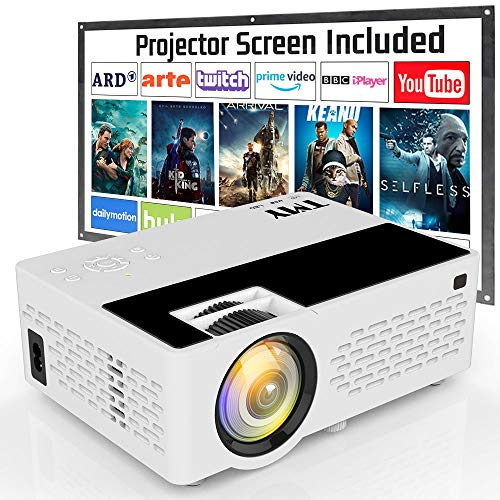 TMY Projector 4500 Lux Video Projector Full HD 1080P Supported Projection Screen Included HD Native 720P Mini Projector Compatible with TV Stick HDMI USB VGA TF TV Stick DVD for Home Cinema