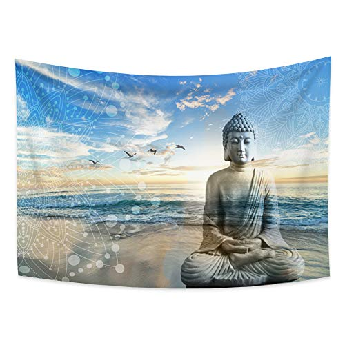 Yongto 70.9x63 Inches Buddha Tapestry Wall Hanging Bohemian Peaceful Buddha with Ocean Sea Tapestry Zen Tapestry for Bedroom Living Room Decor