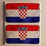 Aufkleber Kroatien Dreckig Gesprenkelt Flagge 2 x Flaggen von Kroatien Harz Gewölbt 3D Kfz-Aufkleber Gedomt Fahne