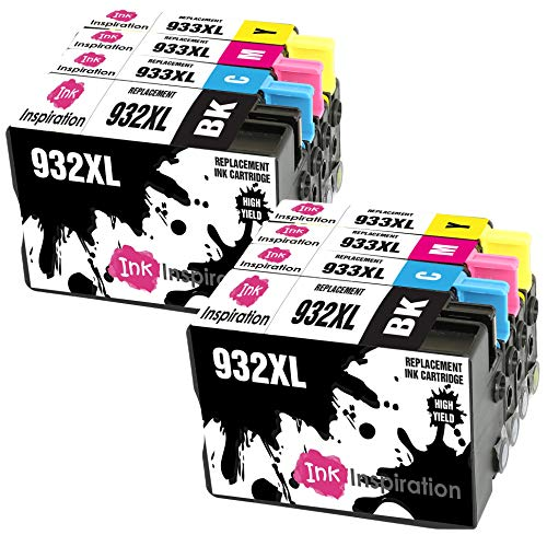 INK INSPIRATION Reemplazo para HP 932XL HP 933XL 932 933 XL Multipack 8 Cartuchos de Tinta Compatible con HP Officejet 6600 6700 7110 7610 7612 7620 6100 7510 7600, Negro/Cian/Magenta/Amarillo