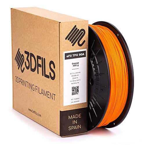 3DFILS Flexibler Filament für 3D Printer TPU 90A, 1.75 mm / 1 Kg, Orange, 1