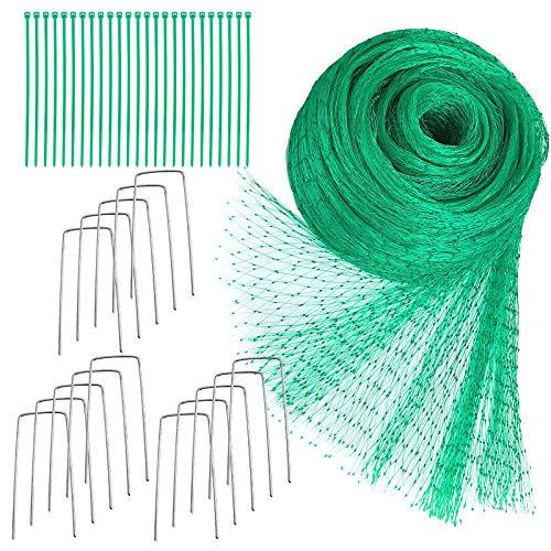 Youley 4 m x 10 m gröna antifågeldammträd växter skydd trädgårdsnät fruktärta nät med buntband och U-formade pinnar, 1
