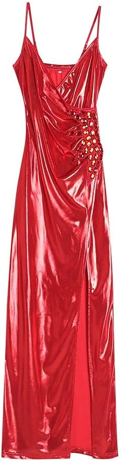 Dress Sexy Female Temperament Dress Hip Skirt Split Sling Club Party Summer (Color : Red, Size : S)