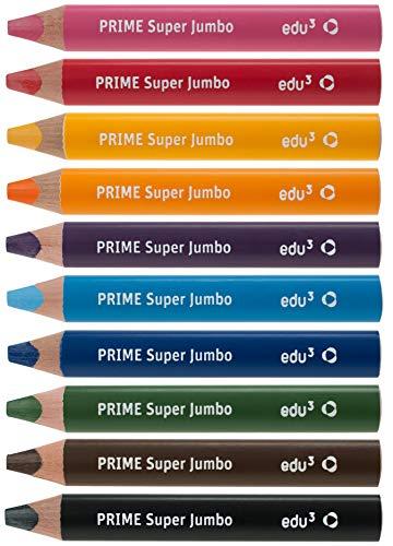 edu3 Prime Super Jumbo 3in1 Buntstifte (Set: 10 Farben + Spitzer) Dicke Farbstifte für Kinder, Kita, Schule und Zuhause