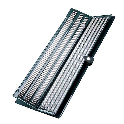 11 tamaños 44 piezas agujas de tejer de acero inoxidable de doble punta en estuche Handcraft Sweater Weave Set de agujas rectas 1.5mm-5mm 9.8/14.1 pulgadas(36cm)