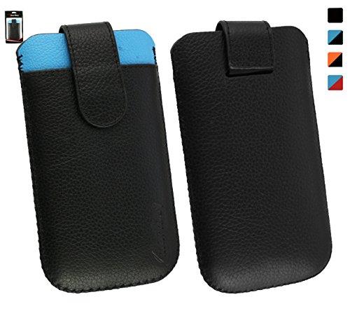 Emartbuy® Echtes Kalbsleder Schwarz/Blau Slide in Hülle Tasche Sleeve(Größe 3XL) mit Kreditkarte Schlitz und Zuglasche Mechanismus Geeignet Für Slok D1 Dual SIM Smartphone