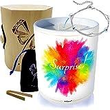 Vela grande joya con cristal de Swarovski® • Perfume monoï de Tahití • Caja de regalo de madera y bambú explosión de color
