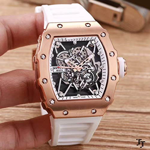 Luxury Men Watch Black Rubber Sapphire Glass Automatic Mechanical Rose Gold Tourbillion Calendar Skeleton Watches AAA+ White