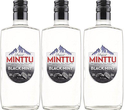 Original Minttu Black Mint Peppermint Salmiak Pfefferminz Likör (3 x 0.5 l)