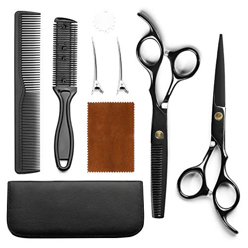 Hairdressing Scissors Flat Cut Hairs Cutting Bangs Stainless Steel Thinning Hair Teeth Scissors Professional Hair Scissor Set (Black)