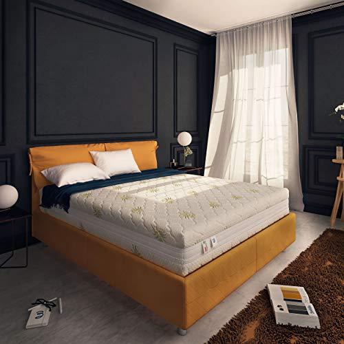 Baldiflex , Materasso Matrimoniale Memory Plus Top 4 Strati 160 x 200 cm Alto 25 cm, Rivestimento Sfoderabile Aloe Vera Cus. Saponetta incl.