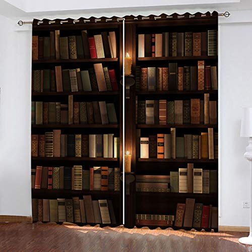 WLHRJ Cortina Opaca en Cocina el Salon dormitorios habitación Infantil 3D Impresión Digital Ojales Cortinas termica - 140x160 cm - Patrón de estantería Vintage