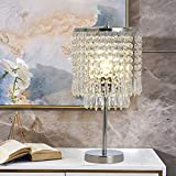 """FERWVEW Decorative Chrome Glam Nightstand Crystal Bedside Table lamp, Elegant Desk Lamp for Bedroom Living Room Dining Room Coffee Table Bookcase 7.97"""" D x 15.7"""" H"""