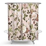 KISY Cortina de ducha de baño retro con diseño de rosas blancas y flores, impermeable, diseño vintage y hojas de color rosa claro