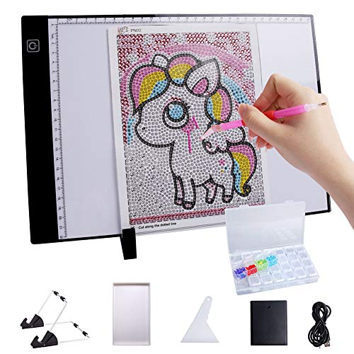 MACTING A4 LED Light Pad, 47Pcs Diamond Painting LED Light Box Tracer, 4mm Ultra Thin Light Up Tracing Tablet with Battery Case, 5ft USB Cable 3 Level Dimming for Artists Drawing Light Board …