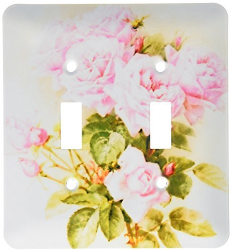 2 Gang Wall Plate Cover Decorator Wall Switch Light Plate Double Toggle Paul De Longpre Shabby Chic Vintage Pink Roses Sun Faded Antique Fine Girly Floral Classic Beadboard Unbreakable Faceplate