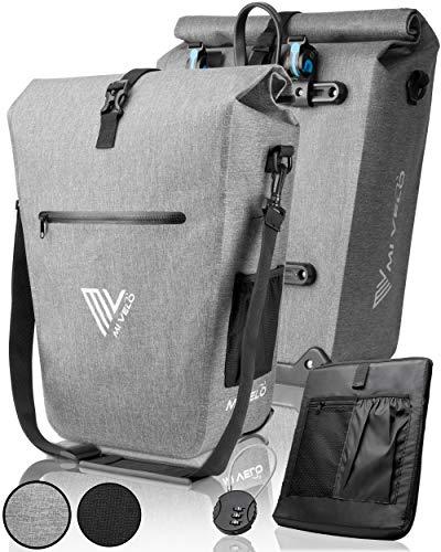 MIVELO Fahrradtasche Gepäckträgertasche wasserdicht 100{e7ec948d09a6bf027d19cbb1b20c5854e035a04a785dc1f00f74a7ce5039acbe} PVC frei + Laptopfach + Schloss + Schultergurt – Fahrrad Tasche für Gepäckträger 1 STK grau