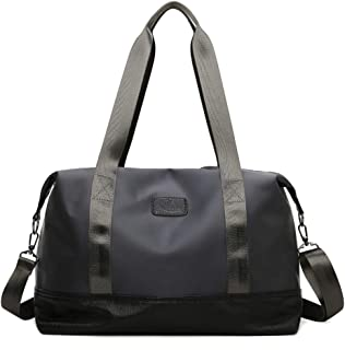 Gym Bag - Grey Sports Bag Travel Duffle Bag Large Capacity Handbag Yoga Fitness Shoulder Bag Tote With Detachable Strap Fo...