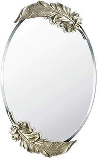 MXD Mirror Bathroom Mirror Waterproof Fashion Gold Feather Wall Mirror Vanity Mirror (Size : S)