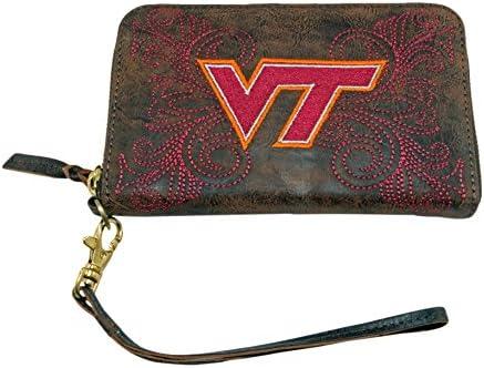 NCAA Virginia Tech Hokies Women's Techvirginia Wristlet, Brass, 8 x 5 1