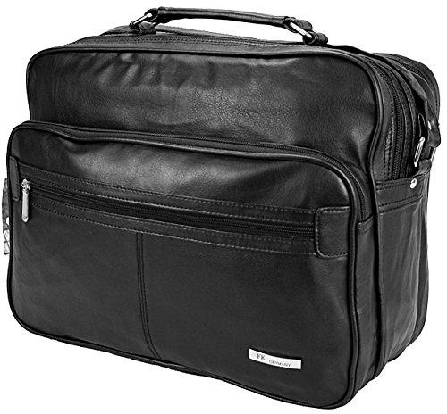 Arbeitstasche Leder-Optik Schultertasche Aktentasche Flugbegleiter Umhängetasche Business Messenger Bag Tasche Black NEU